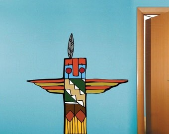 Wall decals TOTEM POLE Native American Wall art surface graphics for interior decor by Decals Murals