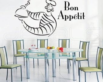 Wall decal BON APPETIT French Man Kitchen decor Vinyl art by Decals Murals (22x41)