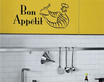 Wall decals BON APPETIT with French Man Vinyl art ssurface graphics Kitchen and Interior decor by Decals Murals
