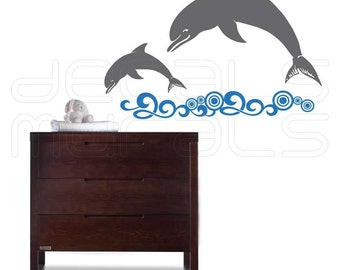 Wall decals DOLPHINS AND WATER Vinyl art stickers interior decor by Decals Murals
