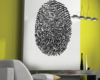 Wall decal THUMBPRINT large vinyl surface graphics for interior decor by DECALS MURALS 42x28