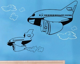 Wall decals HAPPY FLYING AIRPLANES Vinyl art boys room decor by Decals Murals