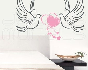 Wall decals WEDDING DOVES Vinyl surface graphics interior decor by Decals Murals