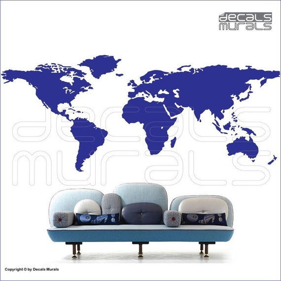 Wall decals WORLD MAP - Vinyl decorative stickers removable surface graphics