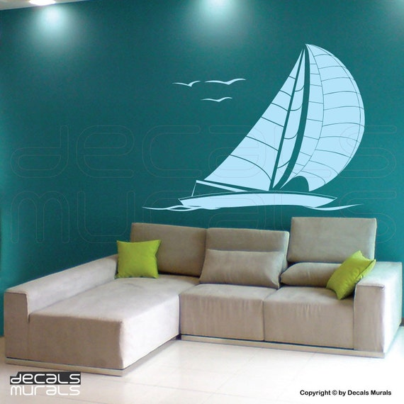 Wall decals SAILBOAT large wall art stickers by Decals Murals 49x42