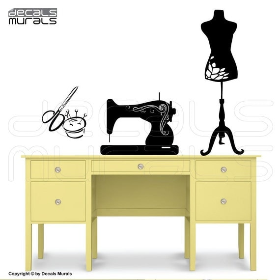 Wall decals SEWING ROOM decor - Sewing machine Mannequin art stickers by Decals Murals
