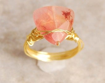 Pink Quartz Ring, Wire Wrapped, Size 8