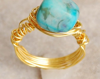 Aqua blue ring Wire Wrapped   Size 4.5
