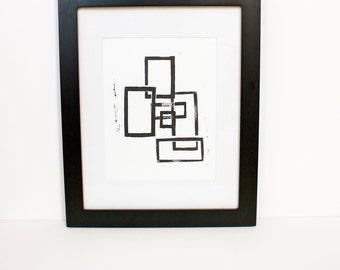 Geometric Mid Century Modern Linocut art PRINT Black Squares 8x10