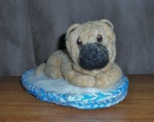 Shar Pei puppy soft sculpture needle felted animal dog on bed