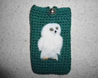 I-phone/Smartphone case felted with needle felt owl