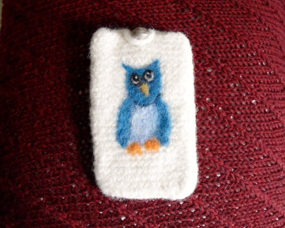 Cell phone case felted with needle felt owl 5 inches long