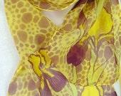 silk scaf chiffon Iris Filigree gold purple unique long painted dyed wearable art