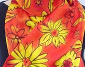 Silk charmeuse scarf Hot Summer Flowers hand painted luxury satin unique