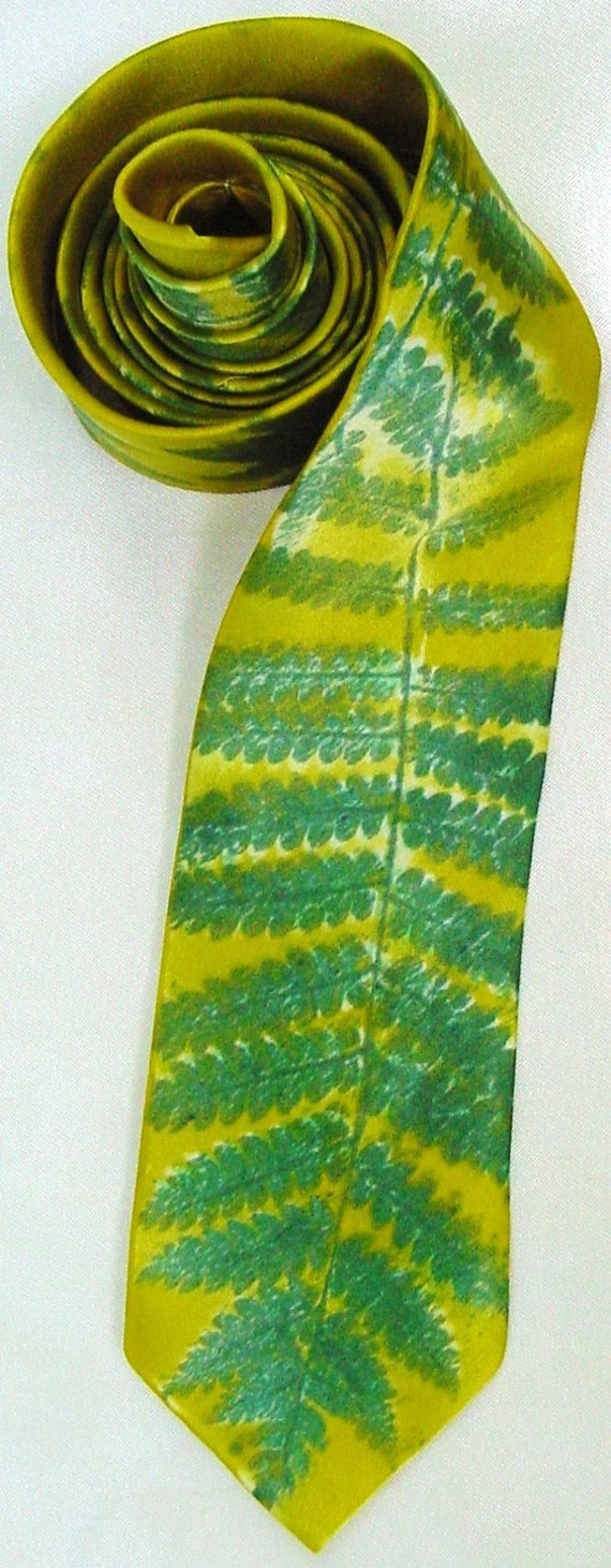 Silk Necktie men dyed painted Green Ferns dad father wedding groom unique charmeuse skinny