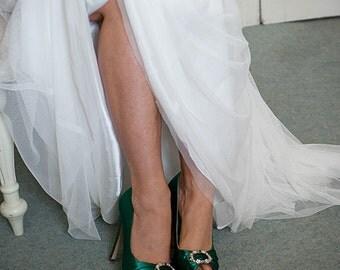 Emerald Green Wedding Shoes- Green Irish Wedding Platform Heels With Crystal - Choose From Over 200 Colors- Open Toe Platform Wedding Heels