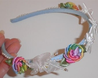 Flower Girl Wedding Headband, Blue Headband Rainbow White Flowers Party Headbands Special Occasion Crowns Hand Made Hair Accessories