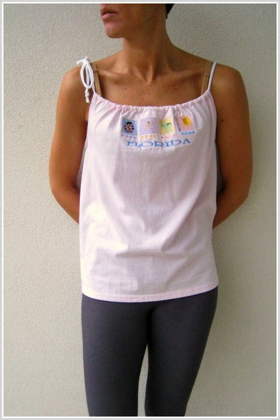 Upcycled T Shirt Tank Top / Light Pink / Florida / Size XS - S / Women / Girls / Teens / Gift for Her Mom / by ohzie