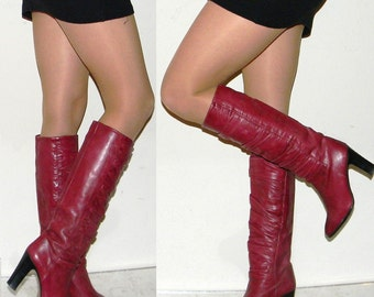 vintage 70s 80s boots sz 5 5.5 70s GORGEOUS purple Italian leather boots leather lining leather sole QUALITY