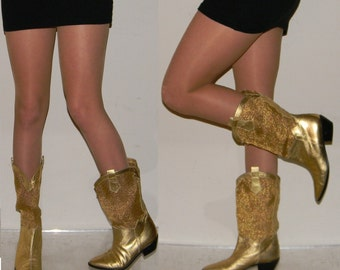 NOS boots sz 6 gold leather mesh slouch womens riding cowboy cowgirl boots QUALITY