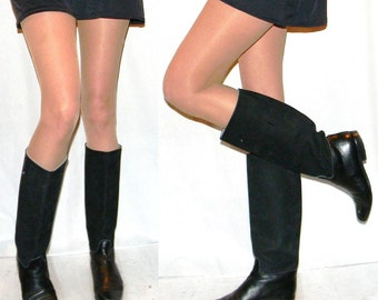 sz 7 80s Italian flat black leather and suede riding equestrian boots