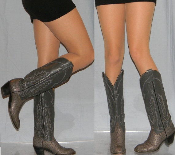 vintage 70s cowboy boots sz 6 LARAMIE ostrich cowgirl tall boots AMAZING