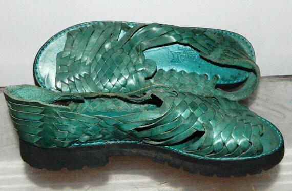 womens sz 10 80s 90s teal green blue hurache sandals shoes