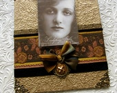 Elegant Photo Frame, handmade, Decorative Picture Frame in autumn colors, rust brown copper black
