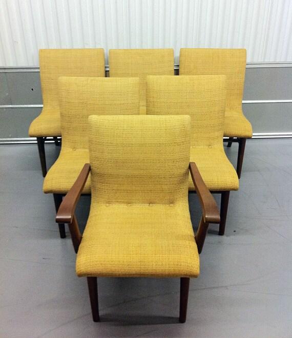 Mid Century Danish Modern Tweed Dining Room Chairs