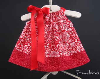 Baby Girls Red Damask Dress and Bloomers Outfit - Infants Red and White Sun Dress - Size Newborn, 3m, 6m, 9m, 12m or 18m