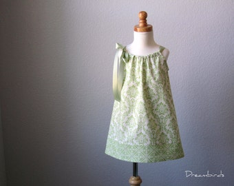 Girls Green Pillowcase Dress  - Sage Green and Cream Damask Sun Dress - Sizes 12 mth, 18 mth, 2T, 3T, 4T, 5, 6, 8, or 10