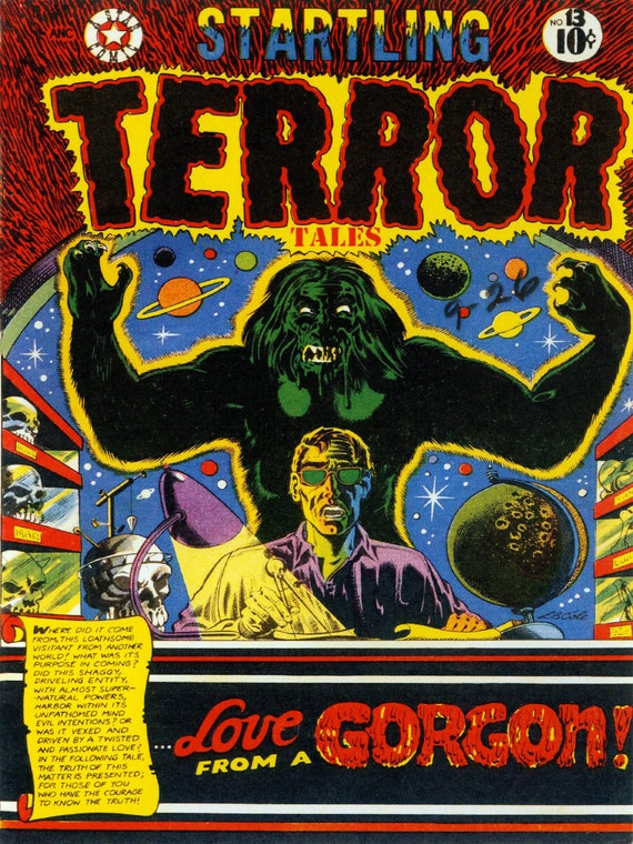 18x24 Vintage Sci-Fi Comic Book Print. Startling Terror Tales - Love from a Gorgon Poster-105