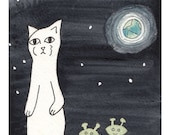 Meow the Cat Goes to the Moon - Black, White, Green 5x7 Art Print
