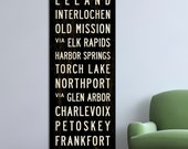 MICHIGAN Bus Scroll Subway Sign, Canvas Wall Hanging, Typography Print, Word Art Poster. 20.5 x 60