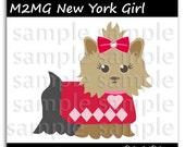 M2MG New York Girl Yorkie Dog Illustration Clipart Digi Scrapbook Elements Clip Art Graphics