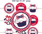 "4th of July Cupcake Sweetie 1"" Bottle Cap - M2MG Flag Girl -  Digital Collage Circles Images 4""x6"" - No.137"