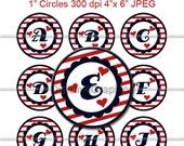 "Nautical Alphabet Bottle Cap 1"" Circles Images Hearts Stripes Red White Navy Sea Ocean Adventure - NO.124"