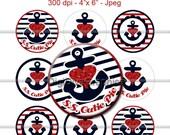 """S.S. Cutie Pie Bottle Cap 1"""" Circles - Digi Images Nautical Anchor Heart Gem - No.133"""