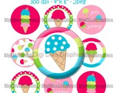 "M2MG Ice Cream Sweetie Bottle Cap 1"" Circles Collage Image Set Digital Graphics - No.173"