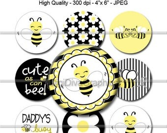 "M2MG Bee Chic Bottle Cap 1"" Circles Images - Round Scrapbook Collage Pendent Bow Center Cupcake Topper - No.142"
