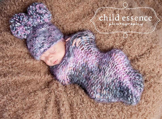 Baby Hat Cocoon Set, Baby Photo Prop, Baby knit hat, Newborn Photo Prop, Baby Cocoon, Knit baby hat, Baby Girl Hat, Newborn knit hat, Baby