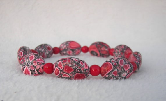 Prosperity and Success RED Magnesite Bracelet / Healing Gems