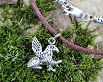 Griffin necklace - sterling silver mythical creature on distressed brown leather cord - mens, womens -for Strength, Courage & Fantasy Fans