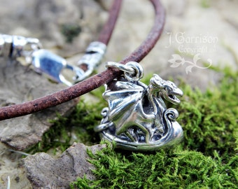 Dragon Viking ship necklace - sterling silver charm on distressed brown leather cord - mens, womens - ancient ship - free shipping USA