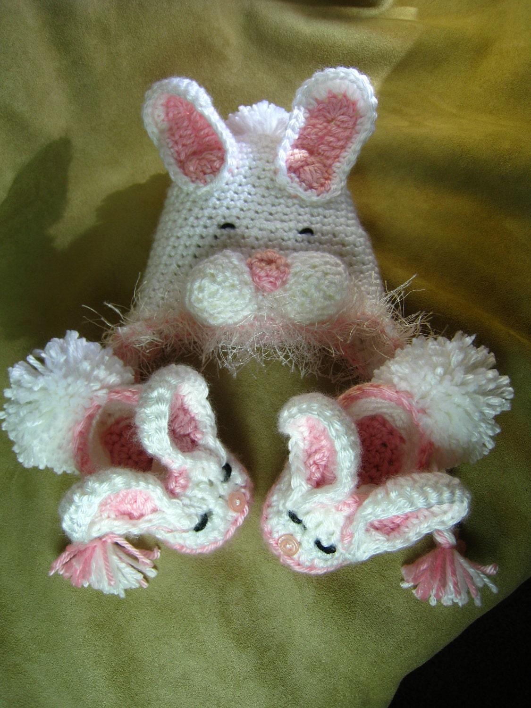 CROCHET PATTERN -shoe, bootie, baby bunny slippers,bunny ...  |Baby Bunny House Slipper Crochet Pattern