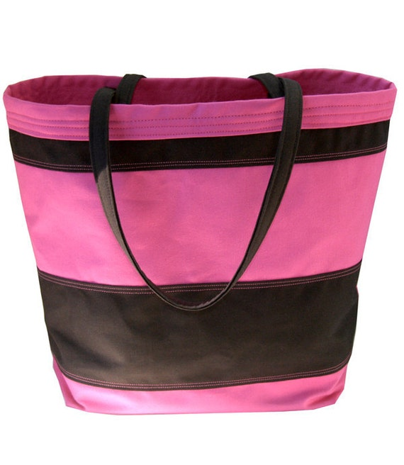 large tote bag pink and black by thecottonpost