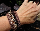 Crocheted Cuff, Crocheted Bracelet,Custom made , Handmade Gift, textural, Eco, rustic fashion, natural