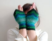 Crochet Fingerless Gloves, Fingerless Mittens, Wool Mitts, Wrist Warmers - Turquoise, Blue, Green Ombre - Driving Gloves - Medieval Fairy