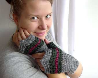 Chevron Fingerless Crochet Gloves, Fingeless Mittens, Fairy Mittens - Steel Gray, Green, Burgundy Wool - Winter Accessories Driving Gloves