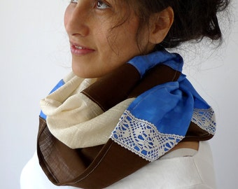 Infinity Scarf, Spring Scarf, Circle Scarf, Silk Scarf, Rustic Scarf, Cashmere Scarf -  Lace, Royal Blue, Cream, Brown
